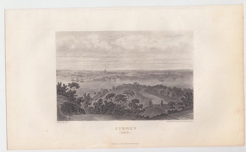 Vue Ville de Sydney en Australie - Gravure ancienne -  Eau forte Gravure originale en taille-douce sur acier dessinée par Aubert, gravée par Aubert. . ...
