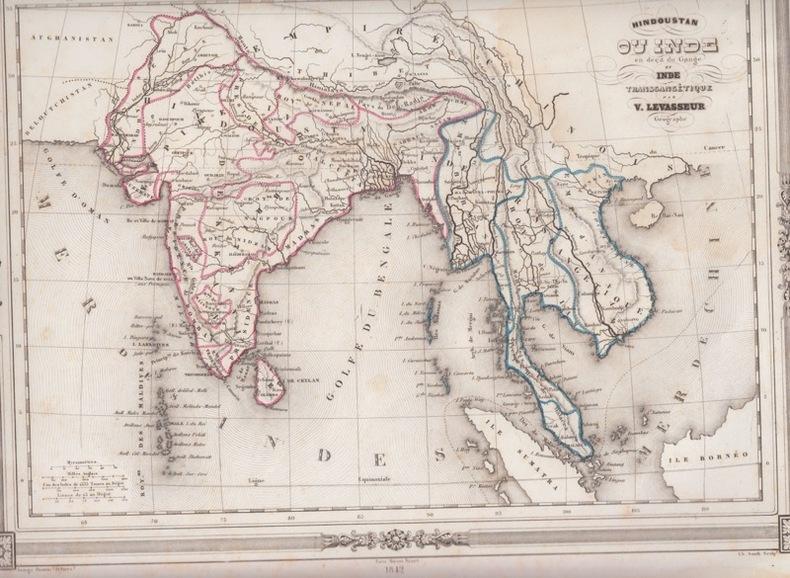 Carte de l'Inde et le sud-est de l'Asie. LEVASSEUR V.,