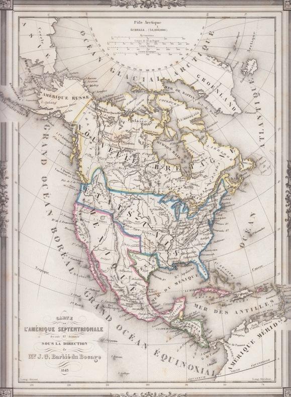 carte Amerique septentrionale . BARBIE DU BOCAGE, J.G.