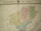 Carte du Département du DOUBS avec vue de Besançon  dréssée par Donnet. DONNET ,FREMIN et LEVASSEUR ou DONNET and MONIN