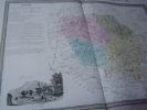 Carte du Département de la CREUSE  avec vue de  Guéret dréssée par Donnet. DONNET ,FREMIN et LEVASSEUR ou DONNET and MONIN