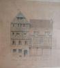Dessin original de la maison de Pierre et Thomas Corneille à Rouen.. [CORNEILLE].
