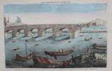Vue d'optique nouvelle représentant les ruines du Pont de pierre à Roüen, avec le superbe Pont de Bateaux dans l'éloignement.. [VUE D'OPTIQUE - ...