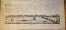Vue du Port de Rouen prise du Petit Chateau situé a l'extremité sud ouest des ruines du pont de Pierre.. BACHELEY (Jacques).