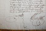 Manuscrit d'une décharge de contrat entre deux familles emblématiques, les Vauquelin de Sassy et Montesquiou d'Artaignan.. [CALVADOS] VAUQUELIN DE ...