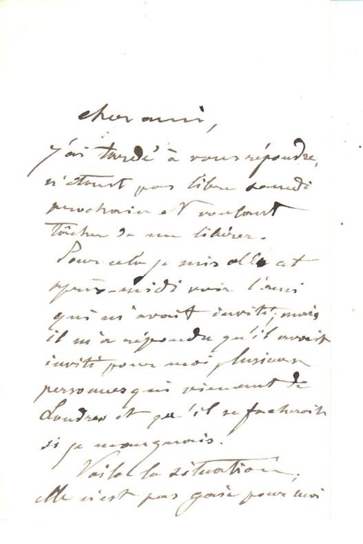 Lettre autographe signée.. CAROLUS-DURAN [Charles Émile DURANT, dit].