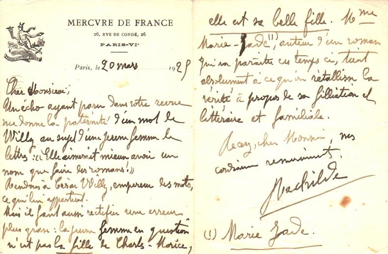 L.A.S. de Rachilde sur papier à lettre à l'en-tête du Mercure de France.. RACHILDE