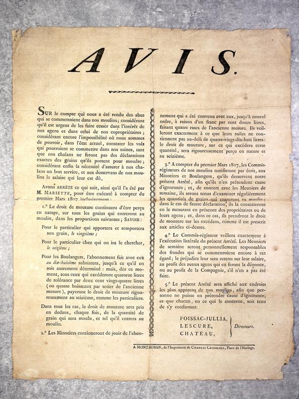 AVIS (AUX MINOTIERS ET BOULANGERS DU TARN ET GARONNE). . (AFFICHE PREMIER EMPIRE)