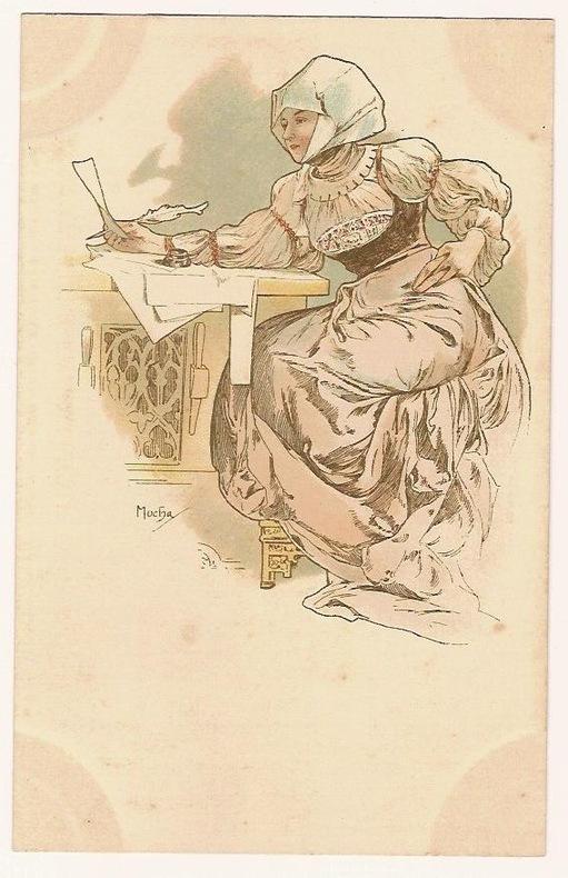 LA LETTRE. (FEMME SLAVE EN COSTUME TRADITIONNEL, ECRIVANT ATTABLEE A UN BUREAU. NEUDIN 1991. C68). PAPETERIE. (CATALOGUE RAISONNE BOWERS-MARTIN. ...