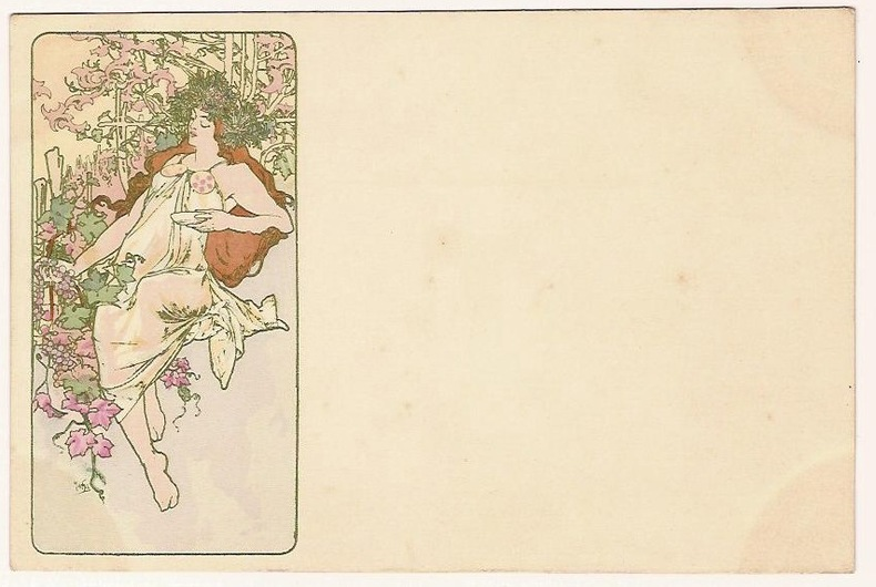 LES SAISONS. AUTOMNE. (NEUDIN 1991. C3). THE SEASONS. AUTUMN. (CATALOGUE RAISONNE BOWERS-MARTIN. 403).. MUCHA ALPHONSE (1860-1939).