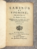 - SABINUS ET EPONINE, TRAGEDIE. PAR MONSIEUR RICHER. REPRESENTEE POUR LA PREMIERE FOIS, SUR LE THEATRE DE LA COMEDIE FRANCAISE LE 29 DE DECEMBRE 1734. ...