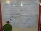 Dispense en parenté datée du 22 Août 1843 signée de la main du Roi LOUIS-PHILIPPE autorisant un oncle à épouser sa nièce. Pièce encadrée.. ...