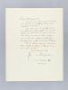 Lettre autographe signée datée du 23 décembre 1936 [ adressée à l'écrivain et érudit bordelais Armand Got ]. BOSSCHERE, Jean de