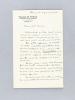Lettre autographe signée datée du 6 janvier 1951, évoquant La Maison de Poésie - Fondation Emile Blémont  [adressée à l'écrivain et érudit bordelais ...