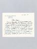 """Lettre autographe signée datée du 19 novembre 1954 [ adressée à l'écrivain et érudit bordelais Armand Got ] : """"Je n'ai pas encore pu m'y mettre, car ..."""
