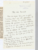 """Lettre autographe signée de Henriette Charasson : """"Voici les sujets que je traite le plus souvent : """"Le Coeur de la femme et la Poésie du Foyer"""" - """"Le ..."""
