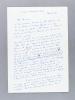 Lettre autographe signée de l'écrivain Jean Guirec (romancier et journaliste). GUIREC, Jean