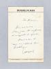 1 Lettre autographe signée de Jean Cayrol.. CAYROL, Jean
