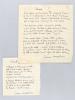 """2 Poèmes manuscrits : Sonnets / Beautés perdues : """"Je veux faire un sonnet pour toi, puisque je t'aime / que rien n'est plus parfait que ce chant et ..."""