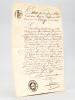 Extrait conforme d'acte de naissance daté de 1818 de Jean Clément Bergé, fils de Laurent Bergé, laboureur domicilé à Coarraze, et de Jeanne Palengat ...
