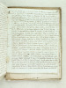 "Liasse de documents manuscrits, [ 80 pages de formats divers, vers 1817-1825 ] dont un document de 4 pp. intitulé ""Le Pourquoy de 1817, ou quelque ..."