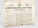 Le Défenseur de la Monarchie et de la Charte, Journal politique, littéraire et commercial. N° 257 du mercredi 28 juillet 1830 [ On y évoque notamment ...