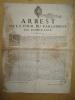 Arrest de la Cour du Parlement de Bordeaux du vingt-septième Aoust 1694 [ Affiche : Lutte contre la spéculation sur le blé et les grains au lendemain ...
