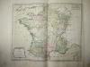 """Les 16 Cours des Aides avec l'étendue de leur Ressort. [ Belle carte en coloris d'époque, extraite de l'atlas """"La France considérée sous tous les ..."""