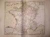 """Les 5 Départements des Fermiers Généraux pour les Aides ave les Recettes générales [ Belle carte en coloris d'époque, extraite de l'atlas """"La France ..."""