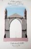 L'art gothique. Eglises à une seule nef. Cathédrale d'Albi. Coupe sur la nef [ Belle aquarelle originale ] On joint : Plan de la Cathédrale d'Albi. ...