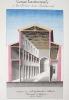 Coupe transversale et Vue intérieure d'une Basilique civile [ Belle aquarelle originale ] On joint : Basilique païenne et basilique chrétienne. ...