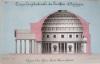 Coupe longitudinale du Panthéon d'Agrippa, aujourd'hui Eglise Santa Maria Rotonda  [ Beau lavis original ] On joint : Plan du Panthéon d'Agrippa. ...