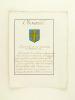 [ Extrait d'Armorial Manuscrit seconde partie XVIIIe ] Choiseüil. D'azur à la croix d'or cantonnée de 18 billettes de même.  . Anonyme