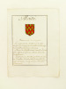 [ Extrait d'Armorial Manuscrit seconde partie XVIIIe ] Maillé. Fascé en onde d'or et de gueule. Anonyme