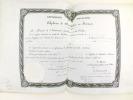 Diplôme de Bachelier ès Sciences. Accordé le 24 avril 1872 par les Professeurs de la Faculté des Sciences de Bordeaux au Sieur Stanislas Isidore ...