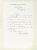 """1 billet autographe signé sur papier à en-tête de l'Imprimerie de Ch. Jouaust daté du 20 mars 1863 : """"M., le prote m'affirme vous avoir envoyé non ..."""