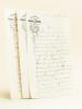 3 Lettres autographes signées sur papier à en-tête de l'Imprimerie Georges Jacob, Cloître St-Etienne, Orléans [ Adressées à Edouard Dentu, évoquant le ...