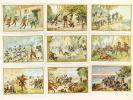 Lot de 34 chromos sur la Guerre de 1870 [et Tunisie, Siam, Tonkin, Madagascar ] : Reconnaissance ennemie surprise dans une ferme à Schirlenhoff - ...