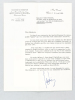 """Lettre signée de Maurice Rheims au journaliste Albert Rèche, date du 21 avril 1960 : """"Cher Monsieur, je tiens à vous remercier tout particulièrement ..."""