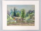 Parc Montsouris avec lac. Pastel original signé. MEKUSA, Angela