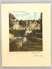 Compagnie Générale Transatlantique. Chemise pour Menu avec eau-forte en couleurs par Georges Plasse : Château de Rigny-Ussé. PLASSE, Georges