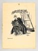[ Vieil homme assis jouant de l'accordéon ] Dessin original à l'encre signé Malap et intitulé Semiramis. MALAPERT, Louis Maurice dit MALAP