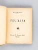 Feuilles [ Edition originale - Livre dédicacé par l'auteur ]. DUPUY, Etienne