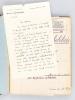 Notes de cours manuscrites : Cours de Calcul des Probabilités [ 5 cahiers manuscrits circa 1947 ] On joint une L.A.S. de Charles Pisot datée du 14 ...