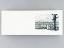 Belle carte orné d'une eau-forte : Lyon, Quai de la Saône [ Lot de 55 cartes à plier sur BFK Rives format 30 x 12 cm ]. Anonyme