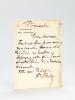 """Deux billets autographes signés du député Emile Brelay : 1 billet AS :""""Dimanche, Mon cher Amin Tout est fini pour moi, ma pauvre femme est décédée ce ..."""