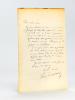 """Lettre autographe signée de Paul Burani : """"Mon cher ami, je vous adresse un ami, le Vicomte Jacques de Dreuille, sorti le 1er avec médaille d'or, de ..."""