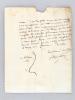"""Lettre autographe signée, datée du 25 janvier 1839 : """"Monsieur ! Je suis très flatté de ce que vous vous adressiez à moi de préférence pour mettre en ..."""