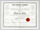 Ecole Centrale Lyonnaise pour l'Industrie et le Commerce fondée en 1857. Diplôme de Première Classe d'Elève de l'Ecole décerné à M. Maurin Napoléon ...