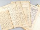 Ensemble de 6 manuscrits littéraires originaux : L'Abandonnée. Nouvelle Alsacienne ; Le Retour du Proscrit ; La Grève. Nouvelle Dramatique ; Le Petit ...